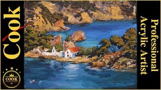 How to Paint a Mediterranean Monastery Seascape  in Acrylics With Ginger Cook