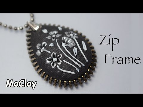 Diy filigree pendant with a zipper frame - Polymer clay tutorial