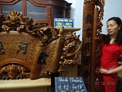 Cuốn thư, câu đối gỗ gụ , Long hóa, 1-12-2015, đồ gỗ Đức Hiền