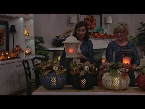 Indoor/Outdoor Pierced Metal Pumpkin with Embellishments by Valerie on QVC