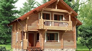 Проект дома из оцилиндрованного бревна ДСЭ 13(Это цена только за сам домик, это без допов, фундамента и тд, это только коробка с работой 18 бревно 7600 руб.м2..., 2015-12-27T15:05:22.000Z)