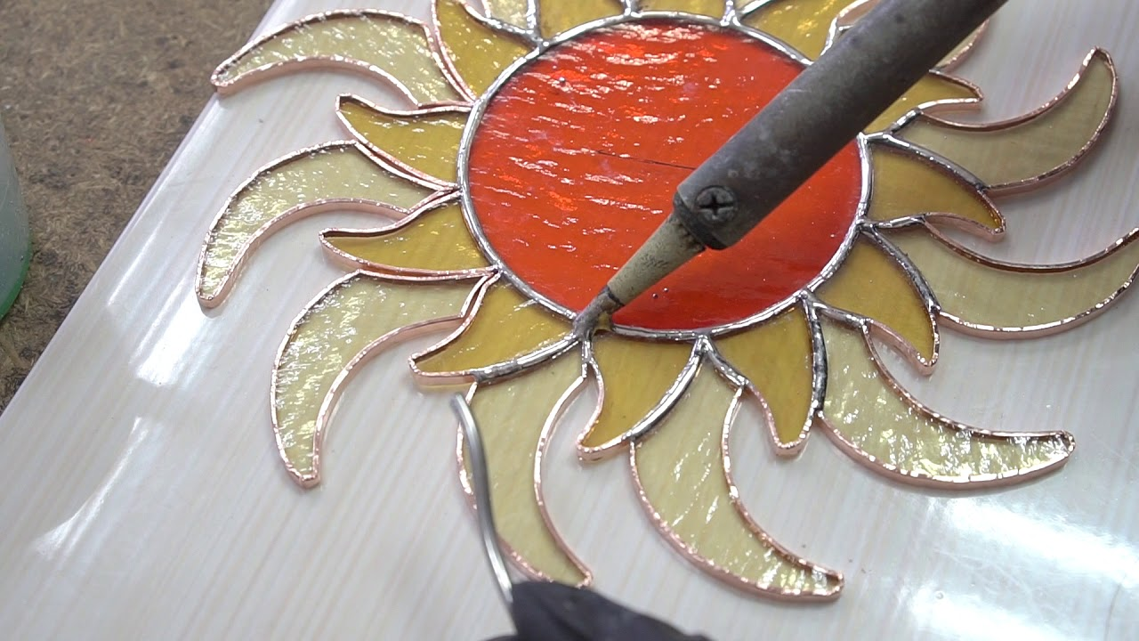 "Stained glass DIY: sun suncatcher - Изготовление витражного ""Солнца"""