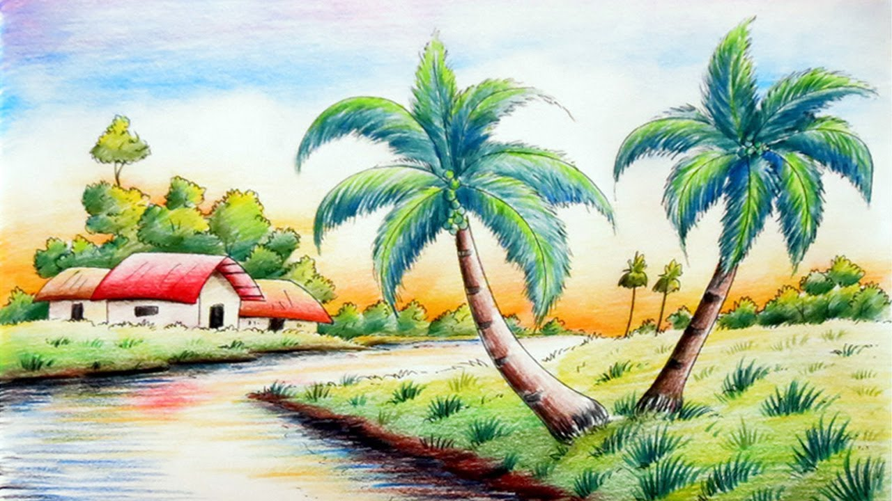Landscape Drawing in Colour Pencil - Shading & Sketching ...