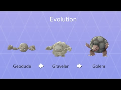 Golem Full Evolution Chain! 672CP Geodude into Graveler and Golem with Max Power Ups!