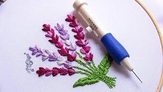 Como bordar flores de lavanda com agulha mágica