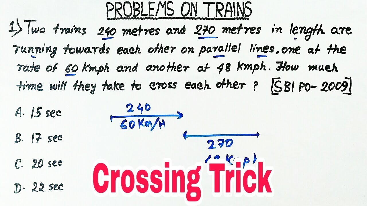 train math problems Two trains puzzle two trains are on the same track a distance 100 km apart heading towards one another, each at a speed of 50 km/h a fly starting out at the front of one train, flies towards the other at a speed of 75 km/h.