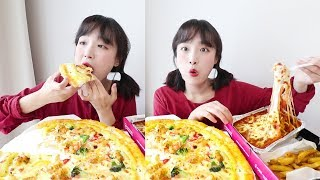 Pizza and Cheese Oven spaghetti eating show! _ You have to eat Pizza with Cheese Oven Spaghetti👍 :D