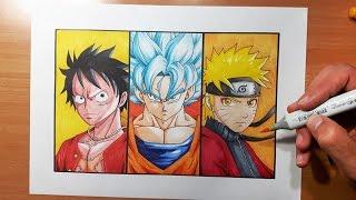 SPECIAL How To Draw Goku Naruto & Luffy - Super Saiyan Blue | Sage Mode | Gear Second