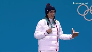 JO 2018 : Ski acrobatique - Halfpipe Femmes. Marie Martinod reçoit sa médaille d'argent