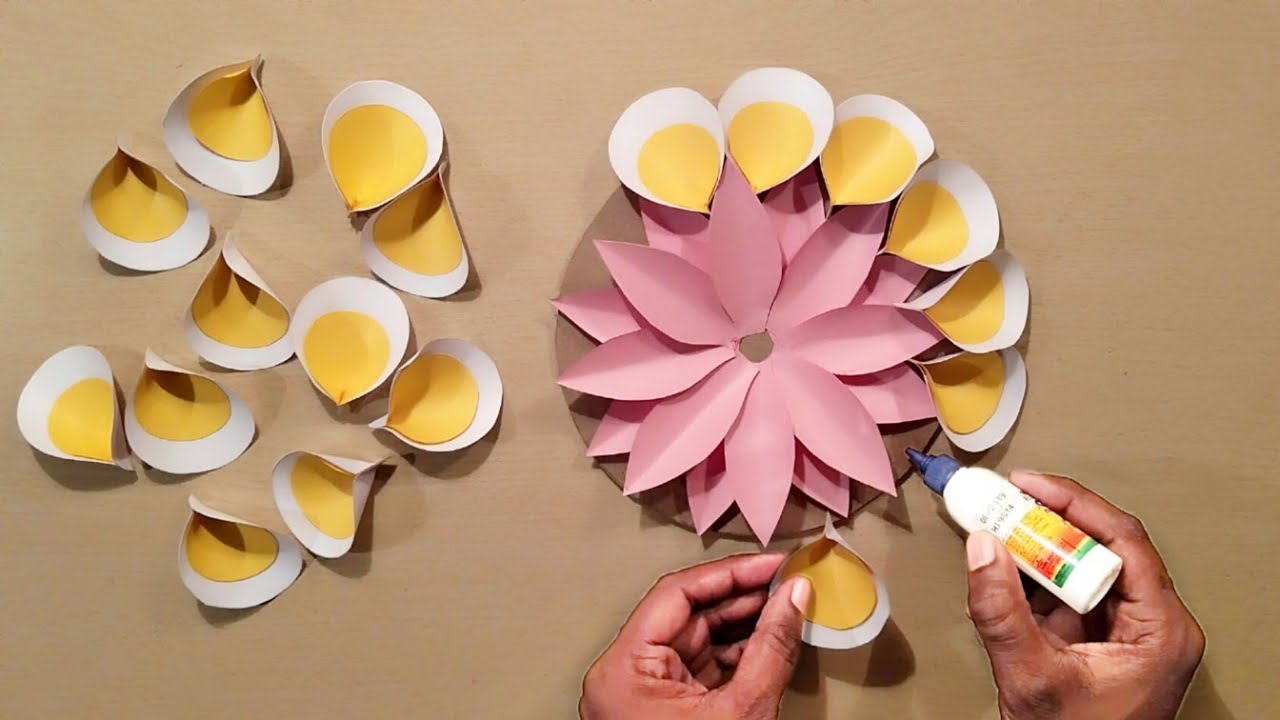 Easy Home Decoration Ideas - Wall Hanging Crofts - Paper Flowers - Wall Decoration Ideas - Handmade