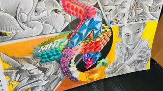 Speed drawing sketch graffiti 4ELEMENTOS estylo propio 3D