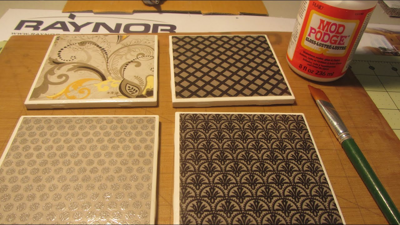 How To Make Coasters With Tiles Scrapbook Paper Mod Podge Youtube