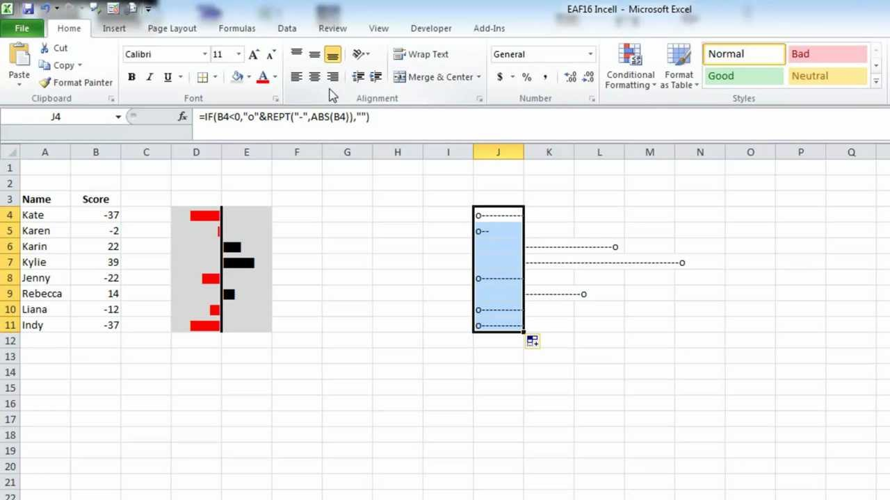 Excel In-Cell Charts