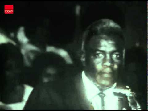 Jackie Robinson addresses a civil rights rally in Birmingham