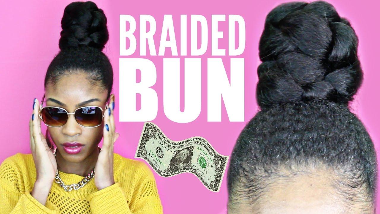 Braided Bun with Kanekalon Hair Natural Hair Protective ...