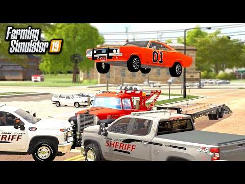 DUKES OF HAZARD ROLEPLAY! GENERAL LEE JUMPS SHERIFF (MULTIPLAYER) | FARMING SIMULATOR 2019