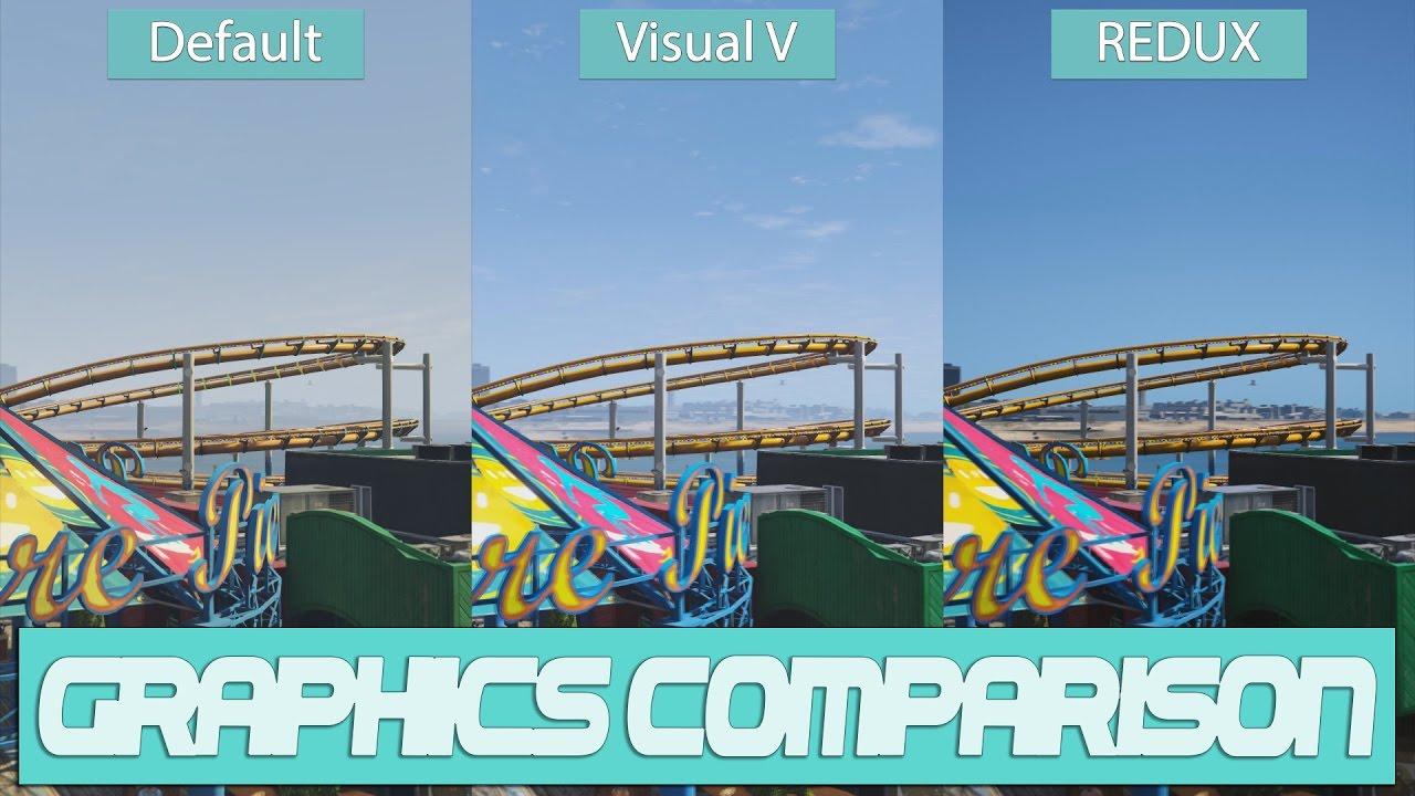 GTA 5 – Default vs  VisualV vs  Redux Visual Graphics Mod Comparison w/  GeForce GTX 1070 Benchmark