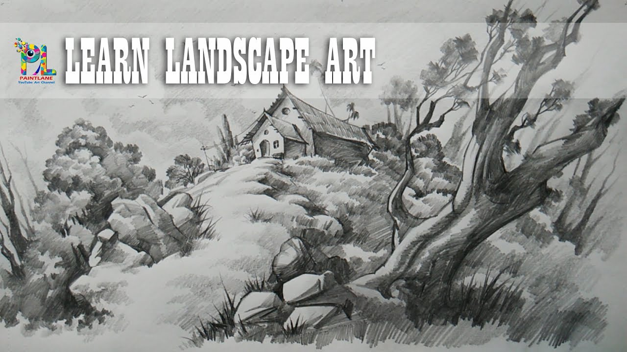 Learn Landscape Drawing and Shading with Pencil   Easy ...