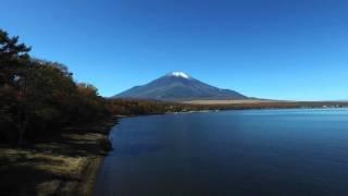 2015 山中湖夕焼けの渚の富士と紅葉(4K空撮 ) Mt. Fuji & Colored Leaves at Lake Yamanaka 4K Aerial Video