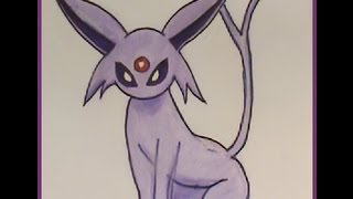 How to Draw ESPEON Pokemon Tutorial EASY NEW!
