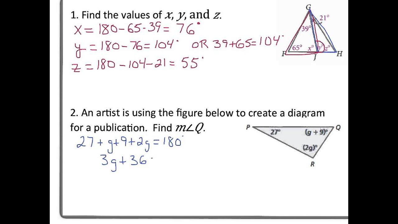 3 4 Triangle Angle Sum Theorem