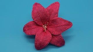 Лилия крючком, мастер класс вязания. Цветок крючком. Тунисское вязание. Crochet flower.