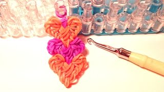 Браслет Переплетение сердец из резинок Rainbow Loom, Радужки Rainbow World