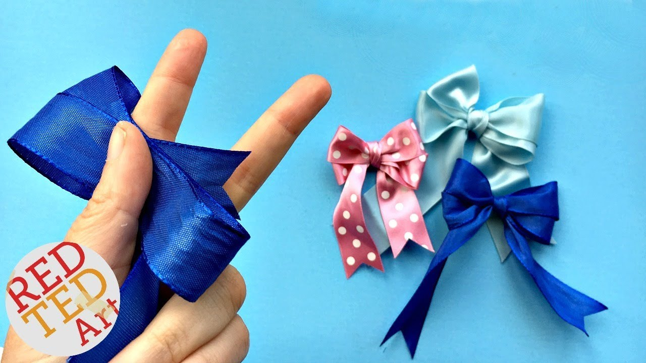 02860ecedbd5 Double Bow Tutorial - Easy Hair Bow DIY - How to make a perfect bow - Craft  Basics. Red Ted Art