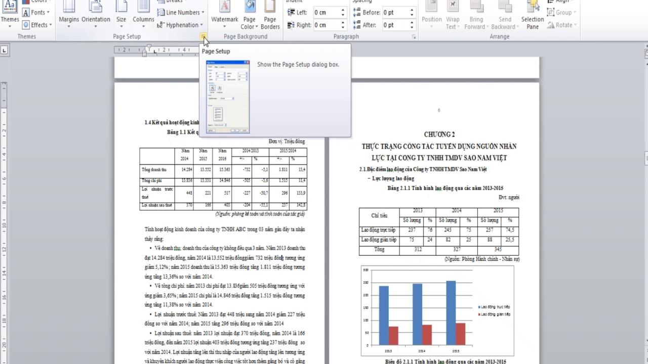 Cách chỉnh hình thức bài luận văn, báo cáo, căn lề, phải trái, căn chỉnh