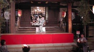 東京・谷中 第32回菊まつりの終了式(雅楽の演奏、祈祷による火入れ、薪舞(地唄舞 出雲蓉師匠)) Ancient court music, Prayer, Jiuta Mai