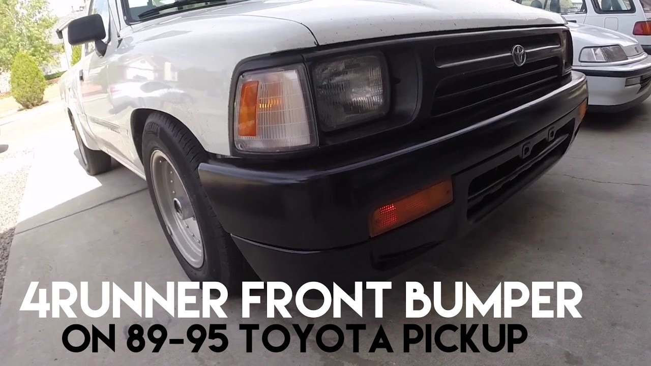 how to install 4runner bumper onto 89 95 toyota pickup and bumper light mod [ 1280 x 720 Pixel ]