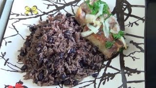 Congri - Made with pork ribs. A traditional rice and beans dish recipe of the Cuban cuisine.