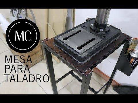Mesa para Taladro de banco con materiales reciclados.