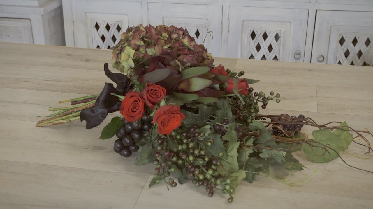 How to make an Autumn Flowers Wedding Bouquet - YouTube