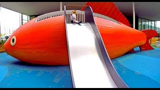 Funny Outdoor Playground for Kids * Giant Slide * Fun Kids Area Play Activity * Nursery Rhymes