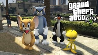 GTA 5 Mods - TOM AND JERRY VS TWEETY BIRD AND SYLVESTER THE CAT MOD (GTA 5 Mods Gameplay)