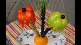 Украшение блюд: пальмы из оливок