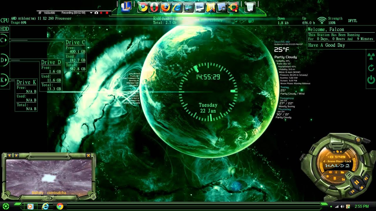 Windows 7 Theme Gundam00 Rain Meter Rocketdock Wallpaper