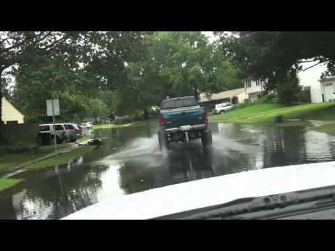 PLAYING IN FLOODED STREETS WITH TRUCKS!! PART 2 - DEEPER WATER