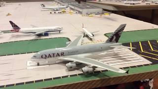 LHR London Heathrow 1:400 model airport evening operations last update