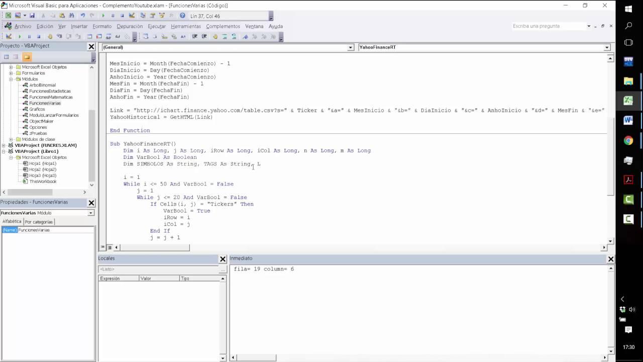 VBA Excel Yahoo Finance API