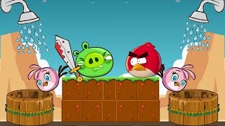 Angry Birds Take A Shower - RED FIGHT THE PIGGIES TO TAKE SHOWER FOR STELLA!