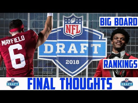 2018 NFL Draft BIG BOARD & PROSPECT POSITION RANKINGS (2018 NFL DRAFT FINAL THOUGHTS)