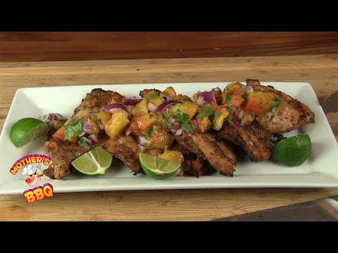 Chili Lime Chicken with a Grilled Peach Salsa Recipe