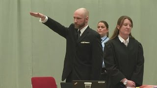 Murderer Anders Behring Breivik gives Nazi salute in court
