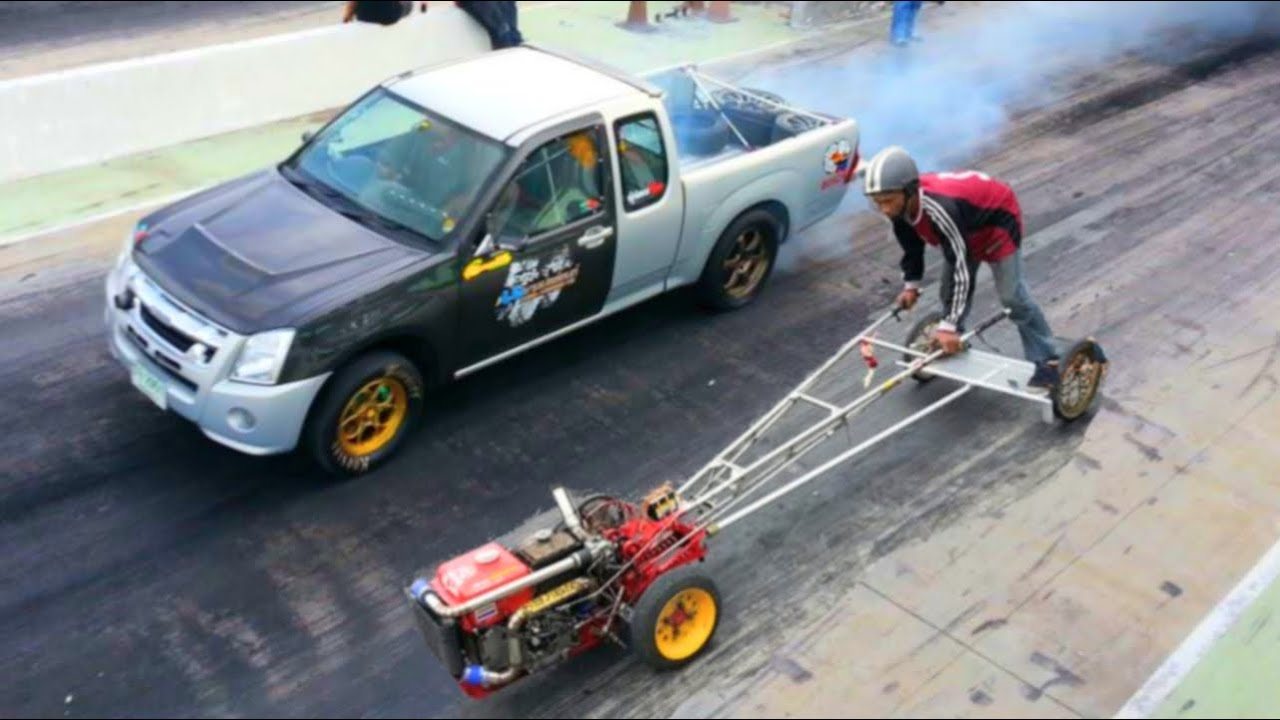Kubota Farm Tractor Owned Mitsubishi Pickup Truck In Drag Racing
