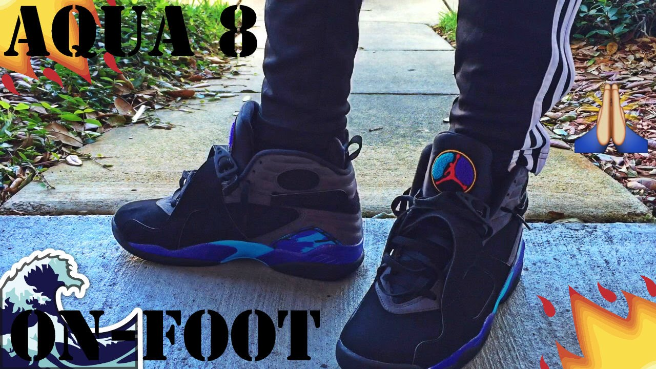 quality design 7b88f 8570d AIR JORDAN AQUA 8 s   ON-FEET REVIEW  4 - YouTube