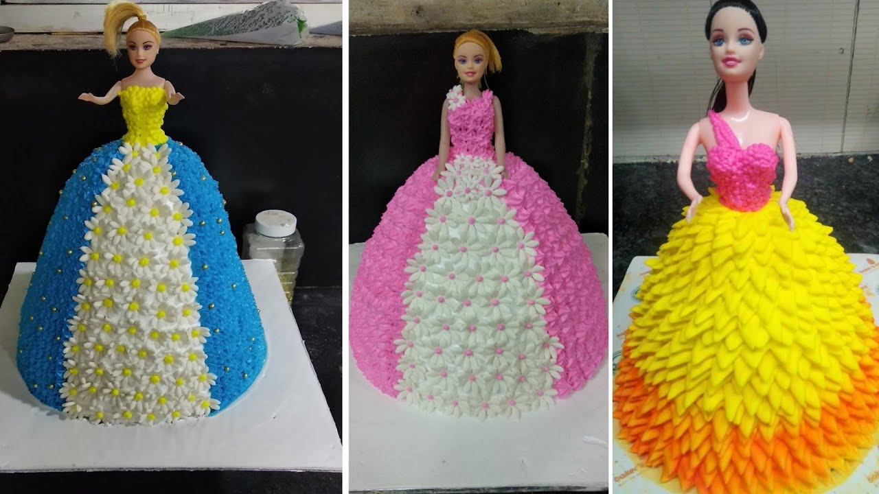 How To Make Barbie Doll Cake Blue And White Color Cake Design Making By Sunil Cake Master Youtube