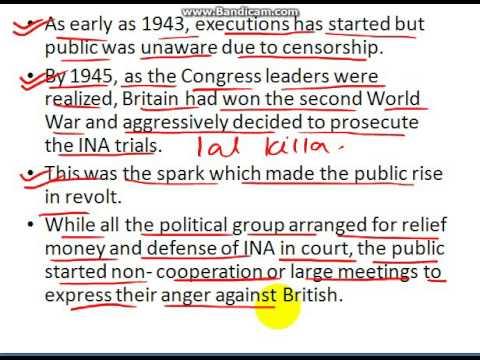UPSC History INA Trails and RIN Revolt
