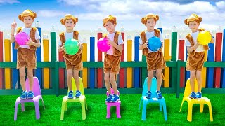 Five Little Monkeys на Русском - Детская песня про пять обезьянок   Развивающие песенки для детей